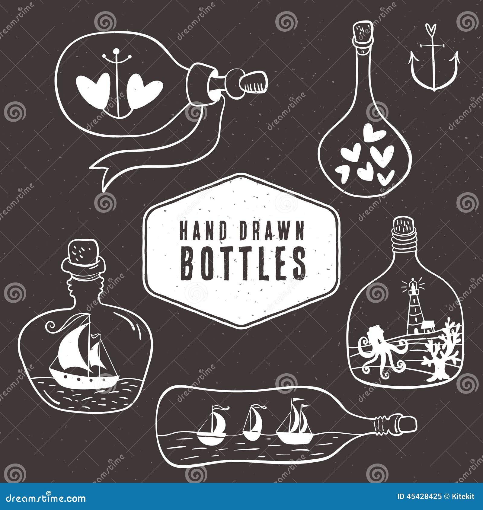 Rocznik butelki kolekcja w nautycznym stylu ręka patroszona
