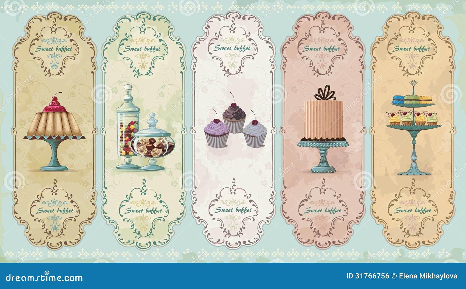 Rocznik etykietki z cukierkami