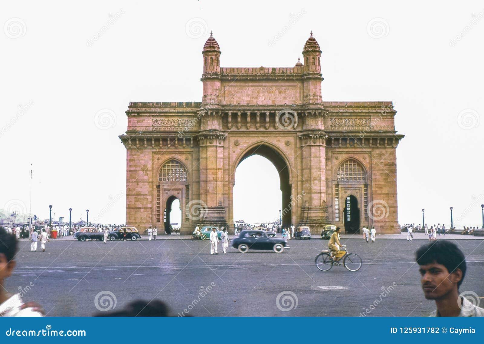 Rocznik fotografia około 1962, brama India, Bombay, Mumbai