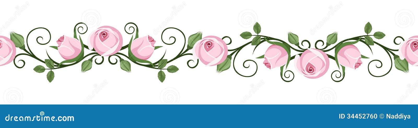 Rocznik horyzontalne bezszwowe winiety z menchii różą pączkują. Wektorowa ilustracja.