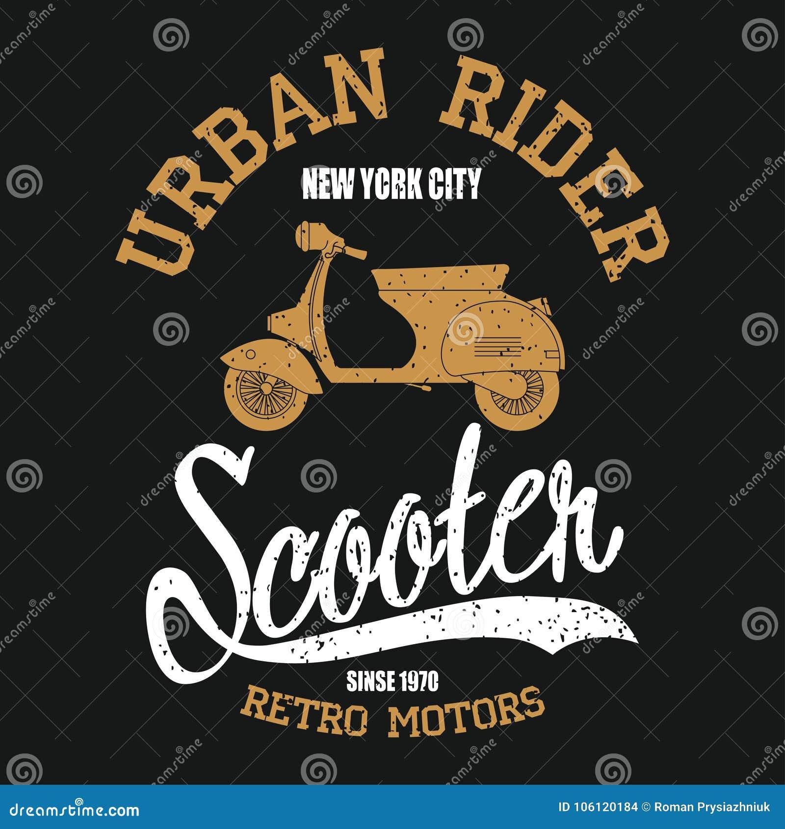 Rocznik hulajnoga Typografii grafika z moped