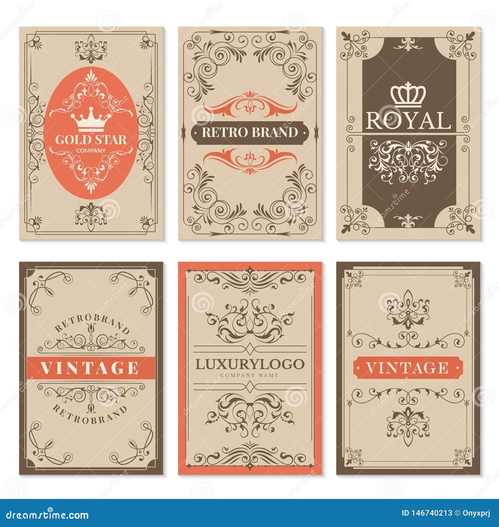 Rocznik karty Kwieciści filigree klasyczni wiktoriański ornamenty, ramy dla etykietka projekta wektorowego szablonu z tekstem i