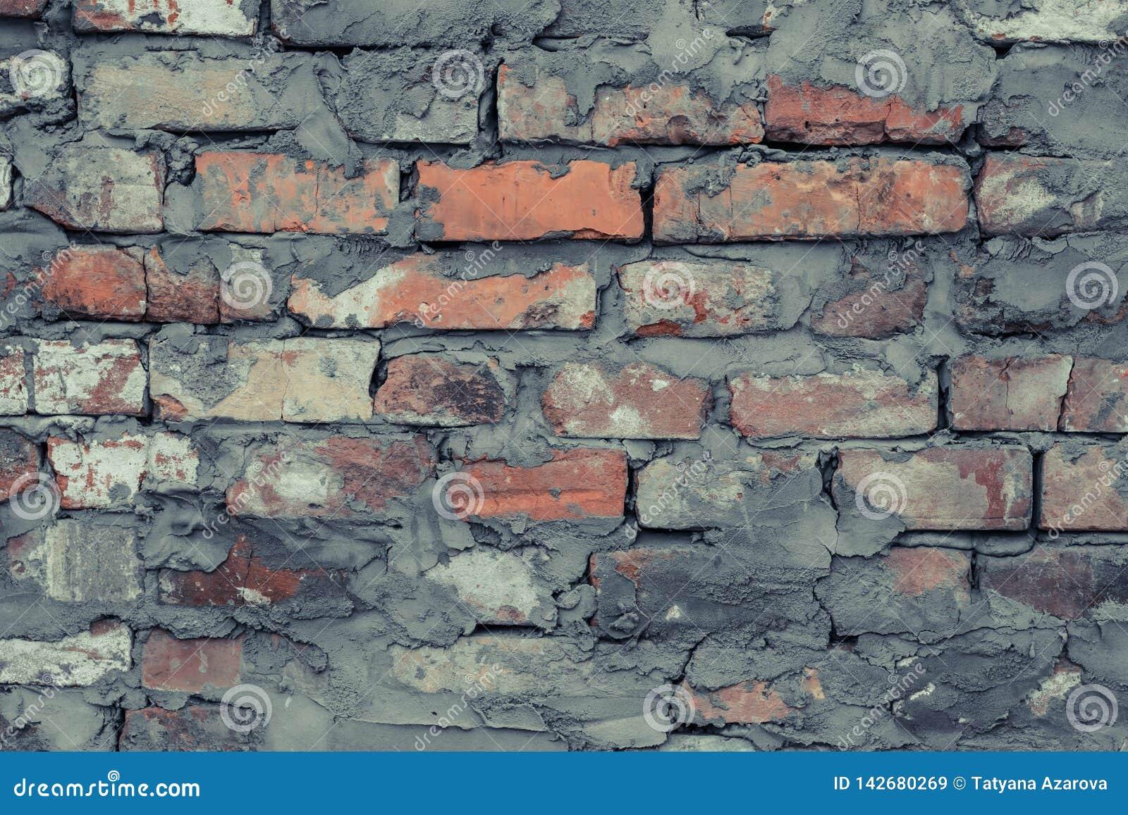 Rocznik niszczący cementowy ściany z cegieł grunge Szary ściana z cegieł cementu tekstury tło Rocznik czerwonej ściany z cegieł p