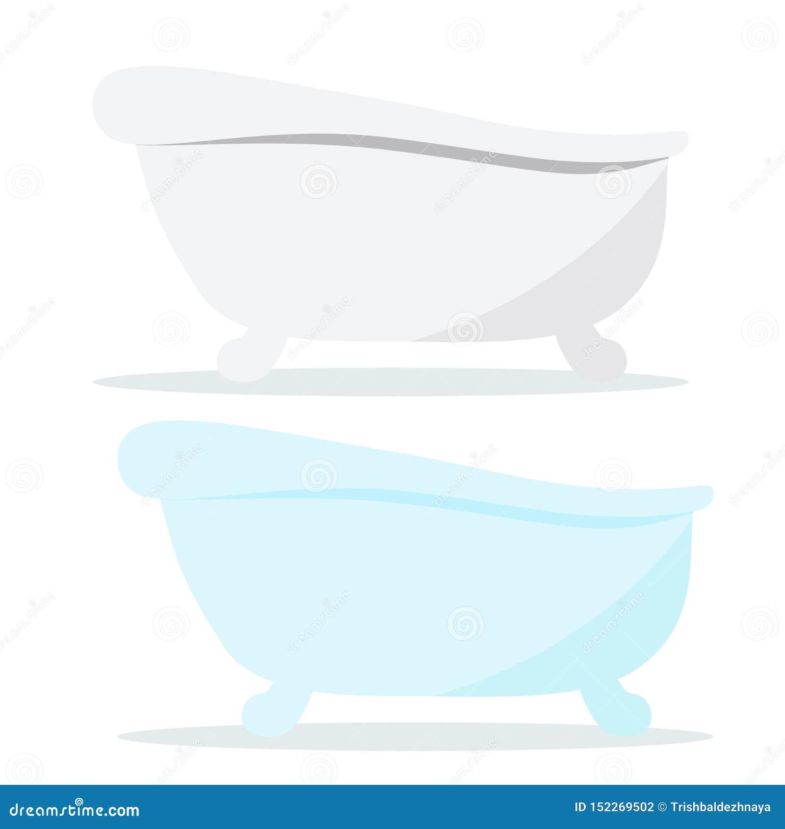 Rocznik obsady żelaza białe i błękitne koloru skąpania ikony z cieniami odizolowywającymi na białym tle