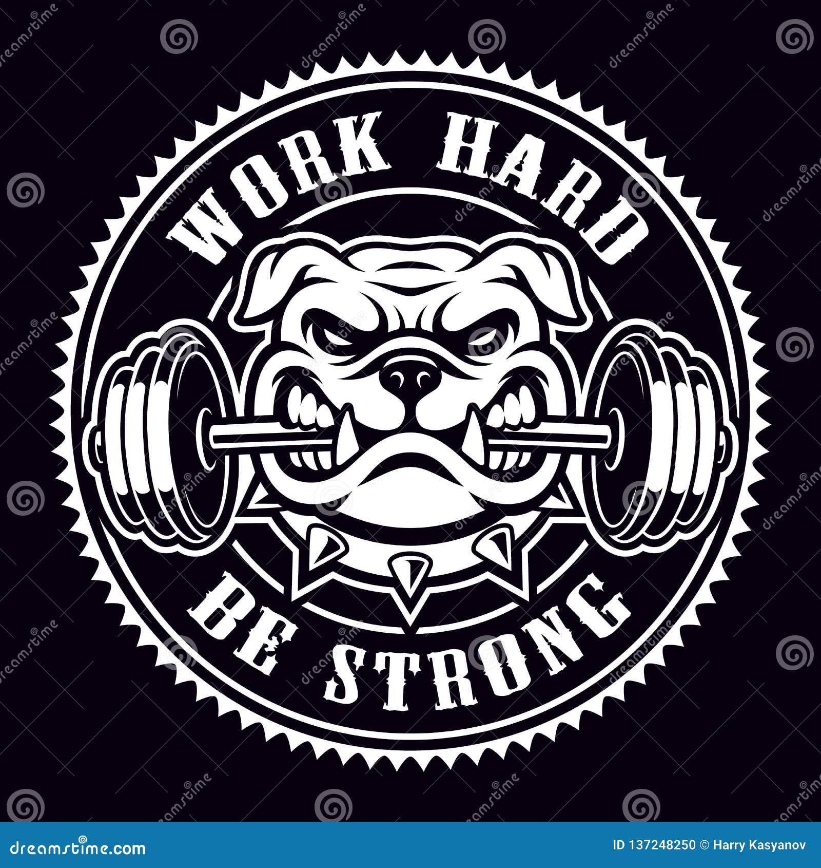 Rocznik odznaka buldog z dumbbell dla gym tematu