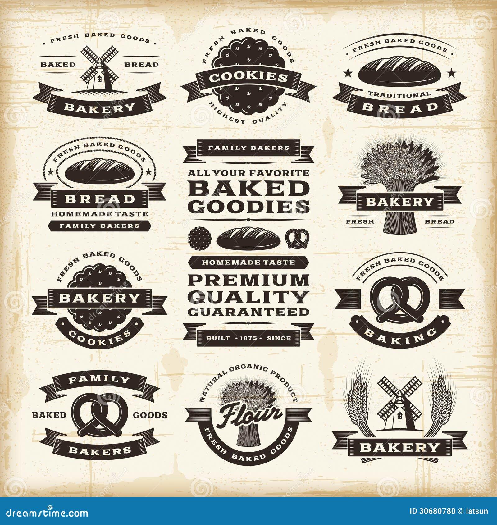 Rocznik piekarni etykietki ustawiać