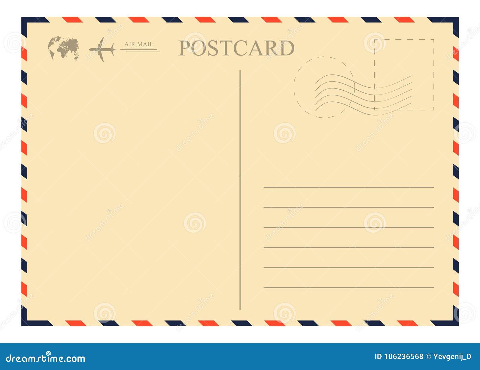 Rocznik pocztówki szablon Retro airmail koperta z znaczkiem, samolotem i kulą ziemską,