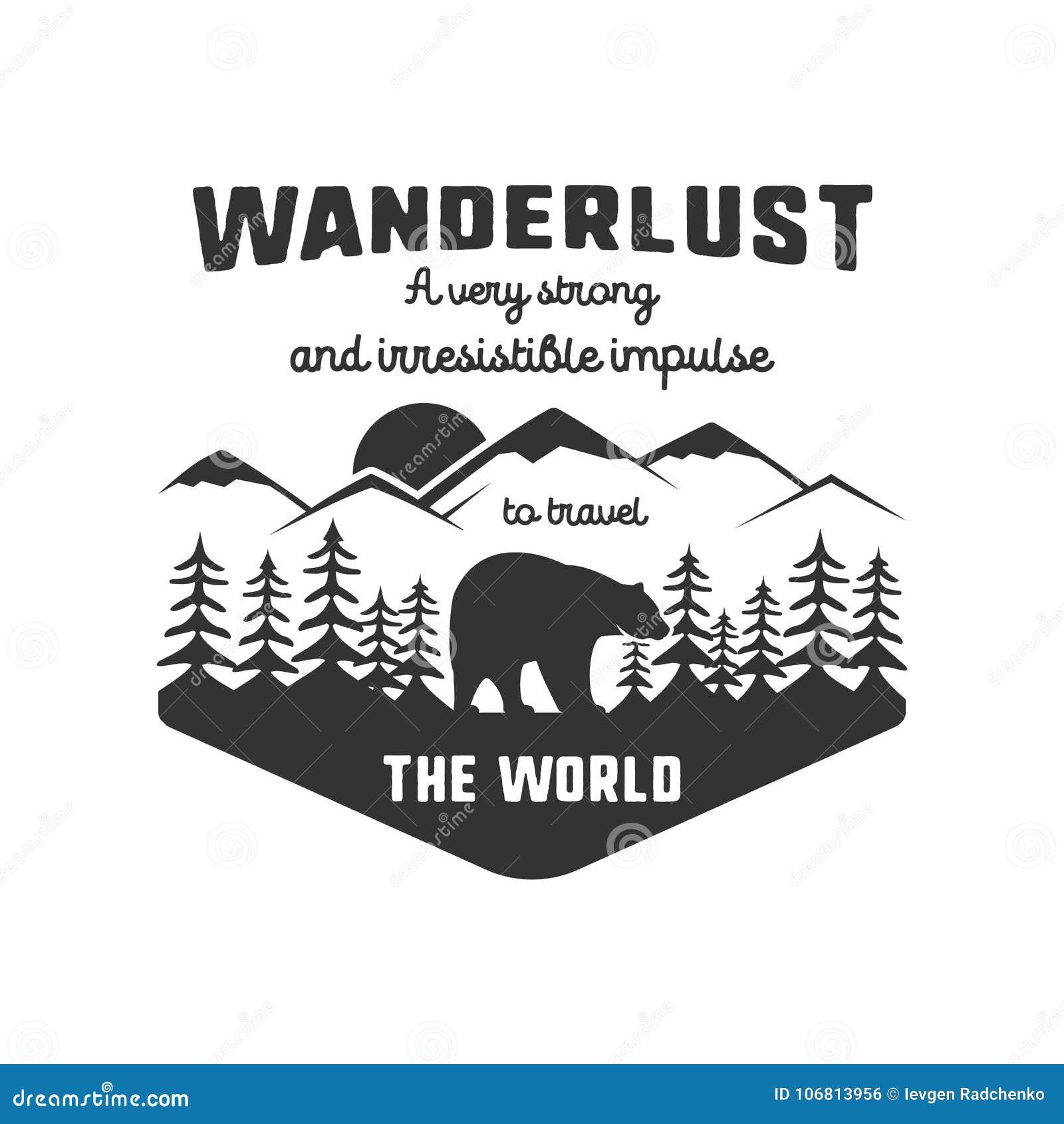 Rocznik przygody etykietki ręka rysujący projekt Definicja podróżomanii szyldowej i plenerowej aktywności symbole - góry