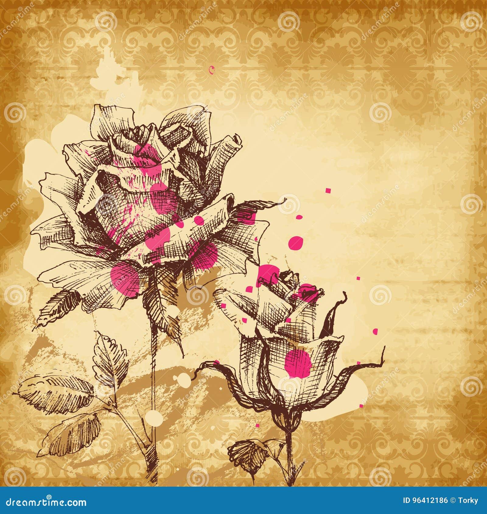 Rocznik róż tło, stary papierowy tło