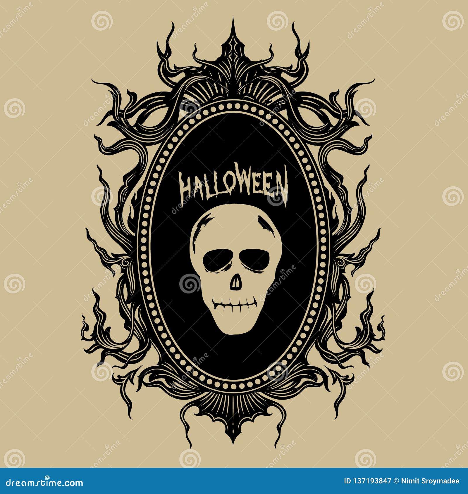 Rocznik ręki remisu odznaki Halloween majcherów wektoru ilustracja
