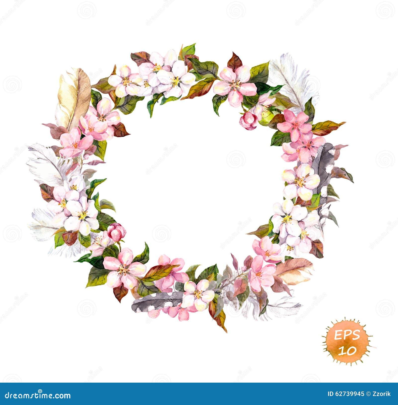 Rocznik rama - wianek w boho stylu Piórka i kwiat wiśnia, jabłczany kwiatu okwitnięcie