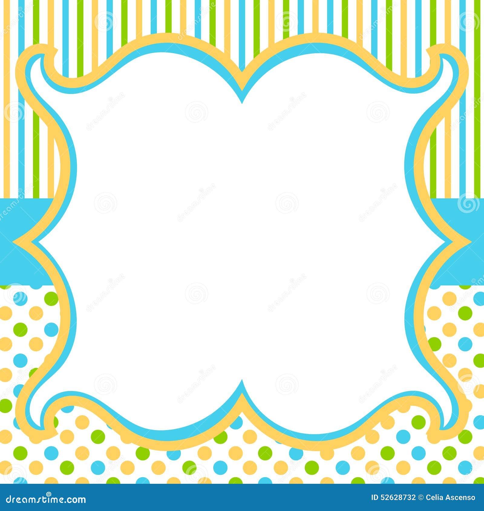 Rocznik rama z polka lampasów i kropek tłem