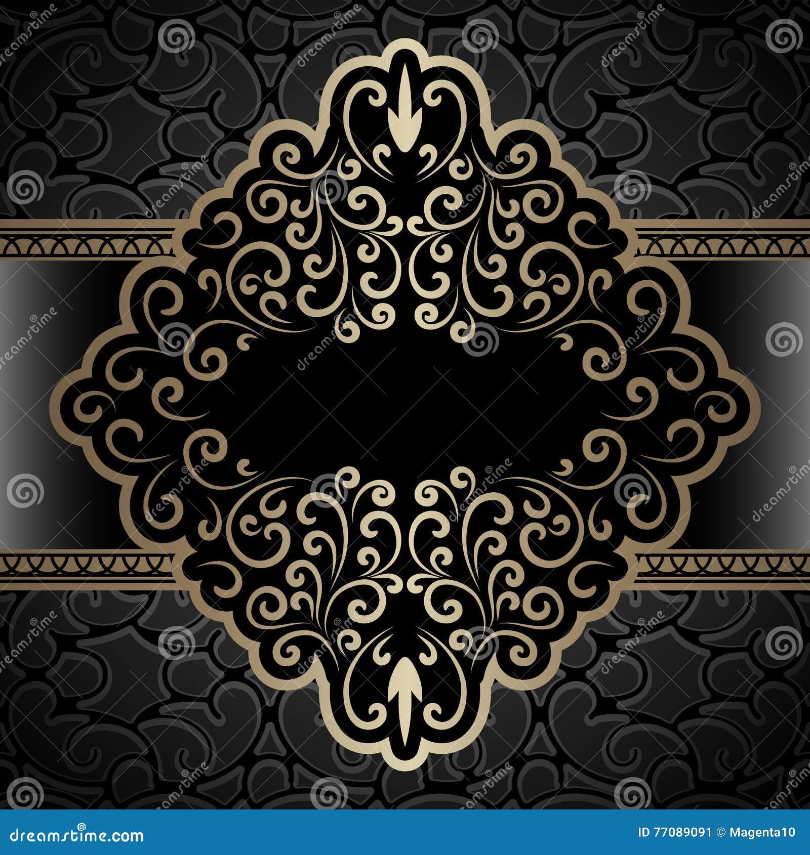 Rocznik złocista etykietka, dekoracyjna rama