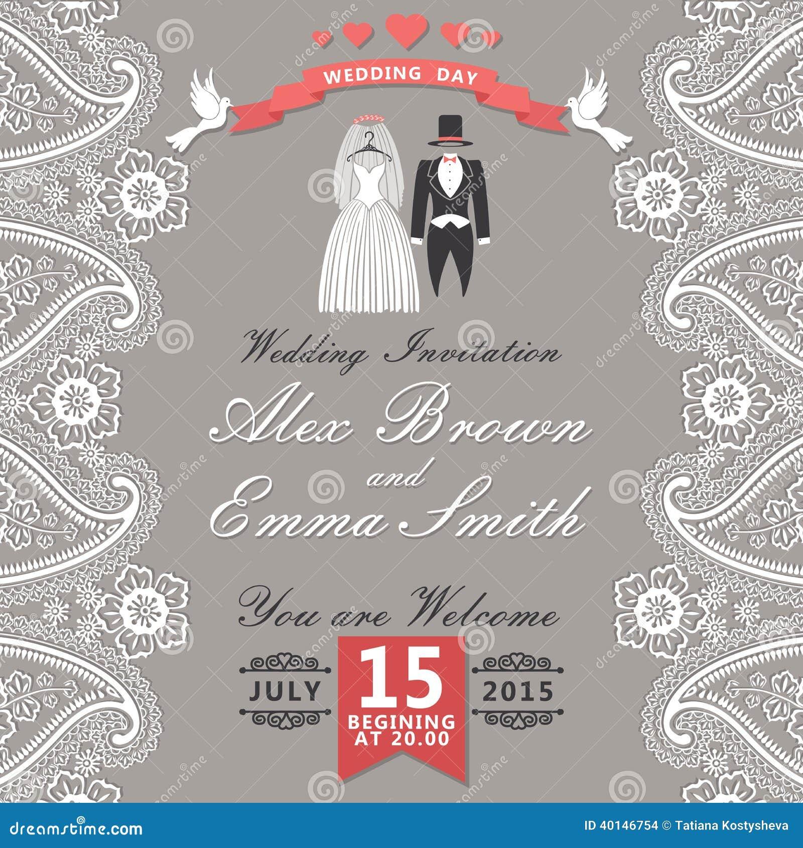 Rocznika ślubny zaproszenie z Paisley granicą, kreskówka poślubia c