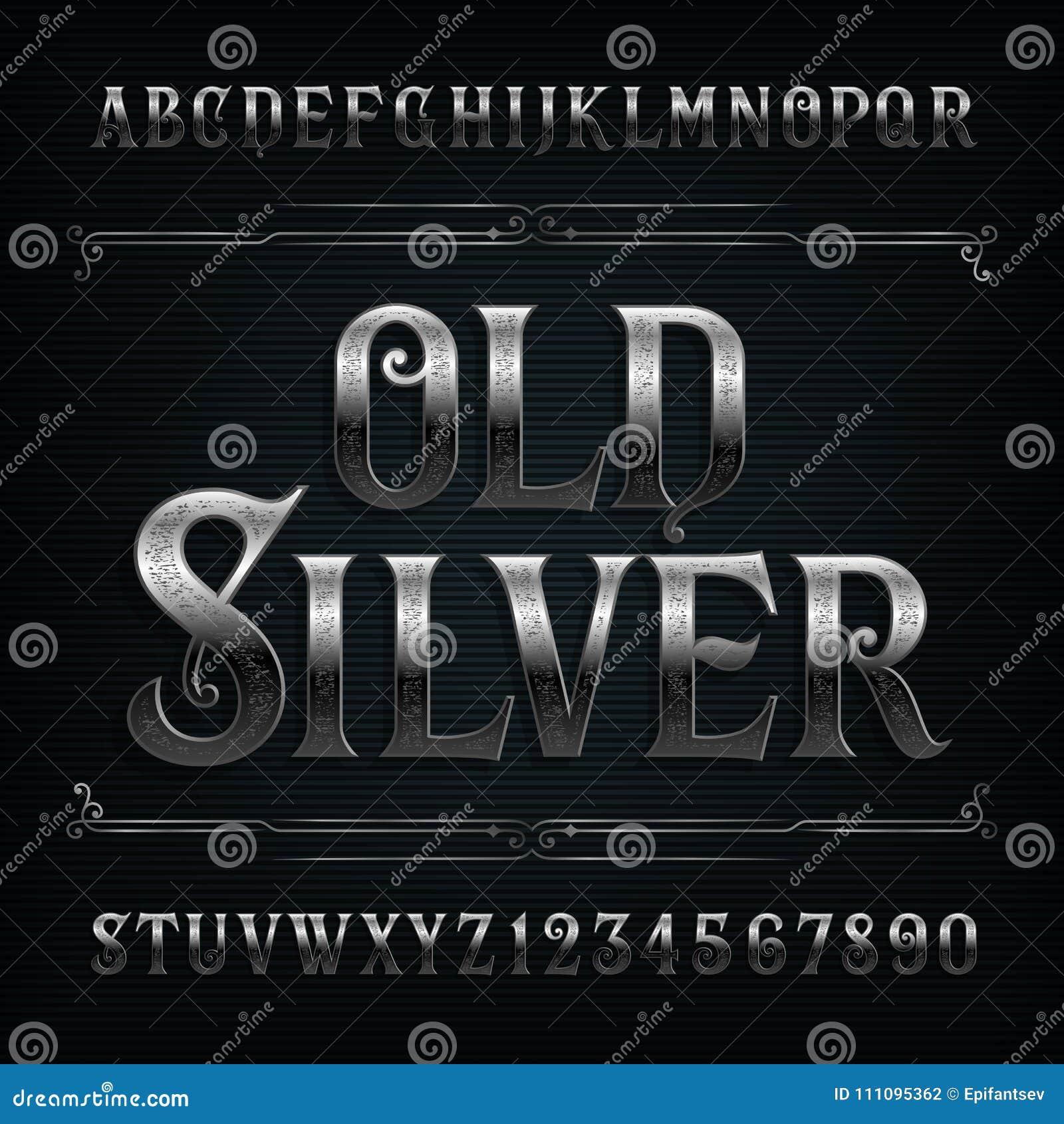 Rocznika abecadła srebna chrzcielnica Stary metalu skutek pisze list i liczby