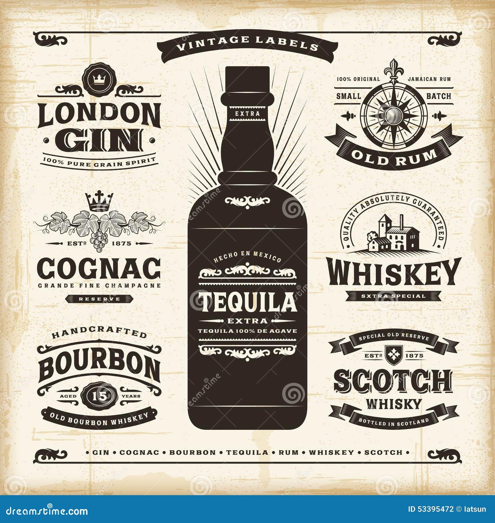 Rocznika alkohol przylepia etykietkę kolekcję