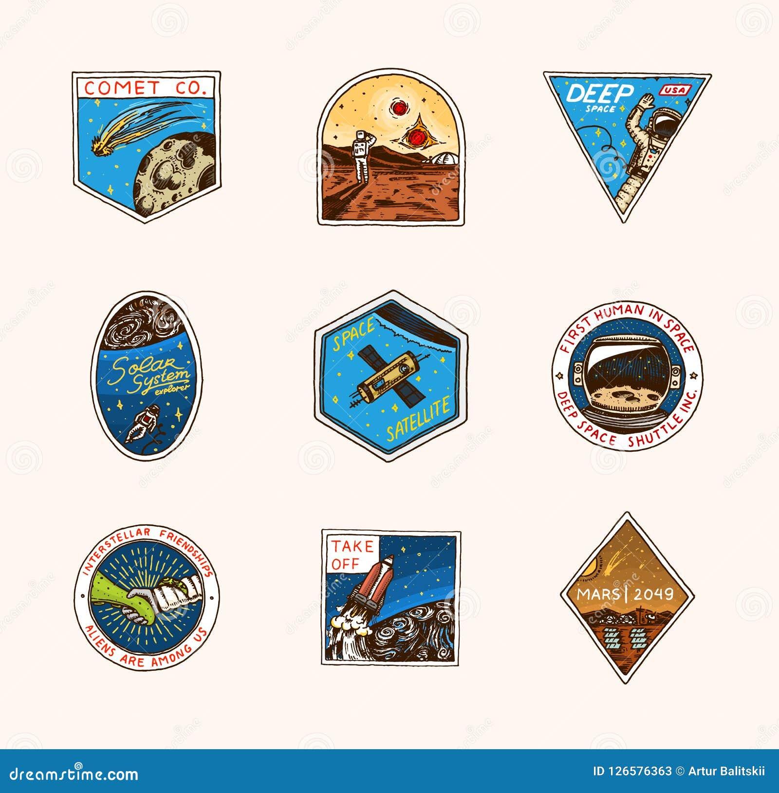 Rocznika Astronautyczny logo Eksploracja astronomiczny galaxy misja kosmita lub astronauta kosmonauta przygoda