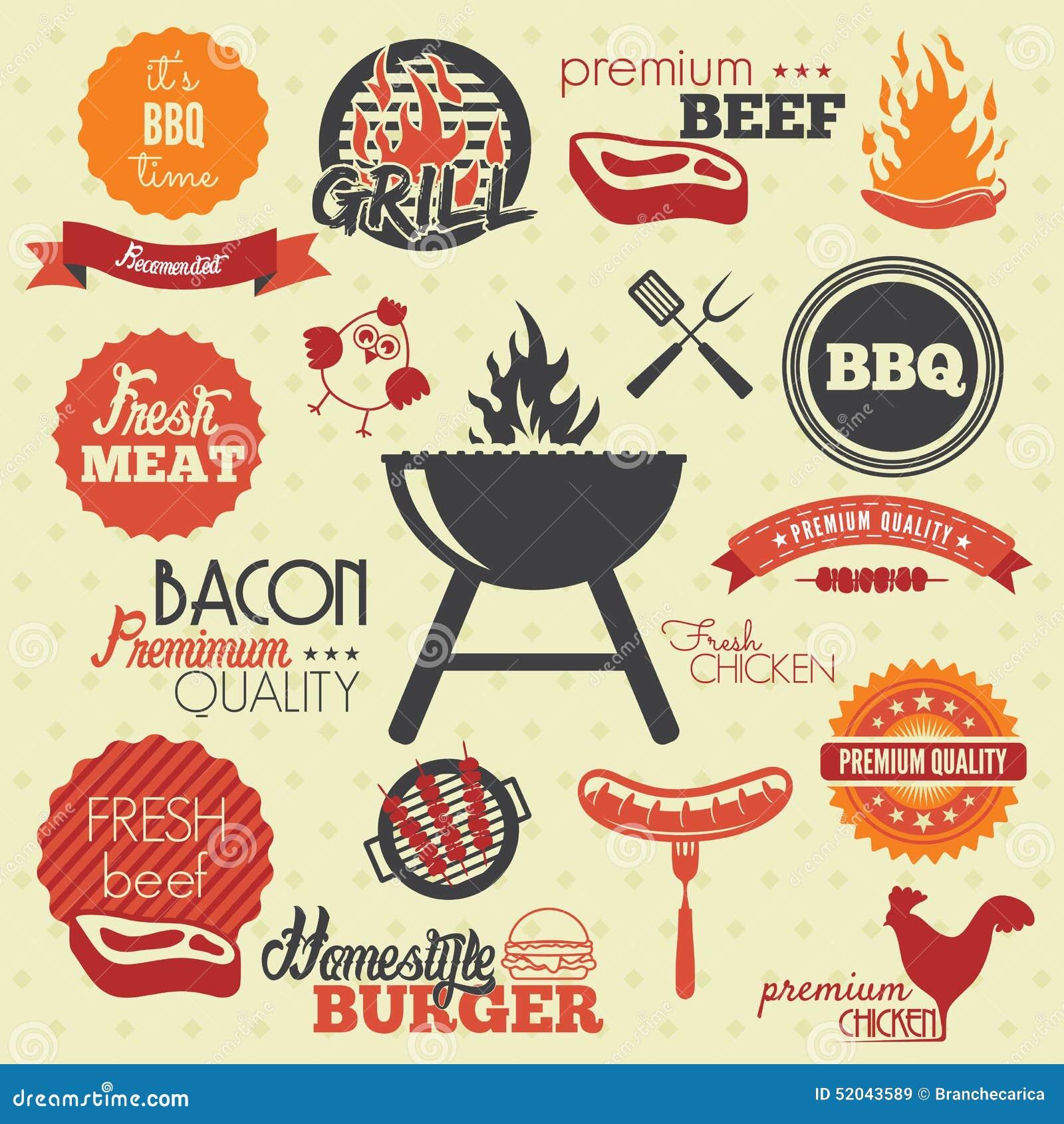 Rocznika BBQ grilla etykietki