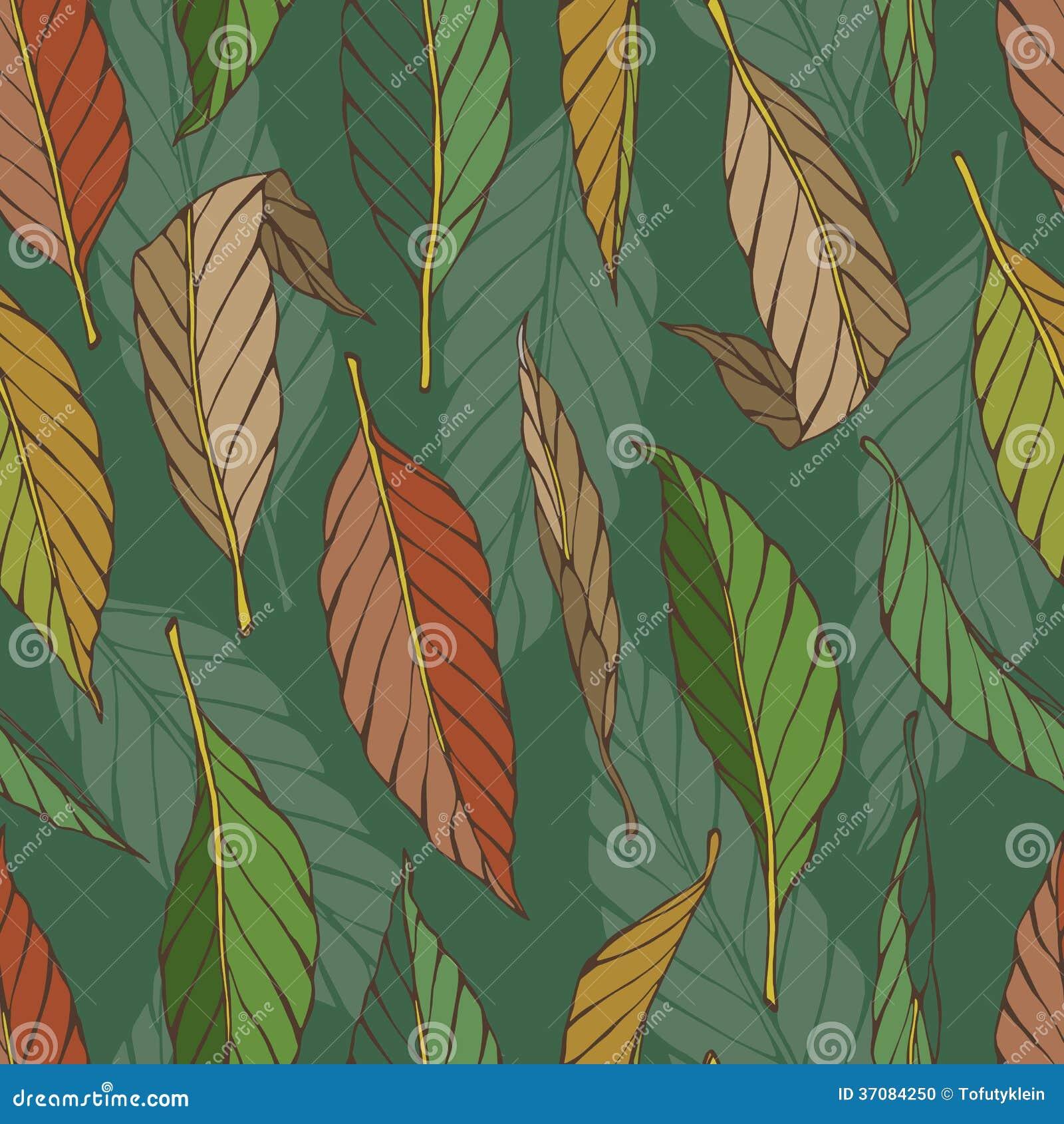 Download Rocznika Bezszwowy Wzór Z Liśćmi Ilustracja Wektor - Ilustracja złożonej z roślina, botaniczny: 37084250