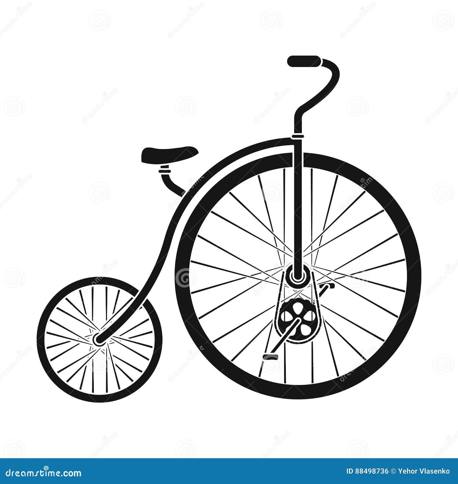 Rocznika bicykl Pierwszy bicykl Ogromny i mały koło Różnego bicyklu pojedyncza ikona w czerń stylu wektoru symbolu