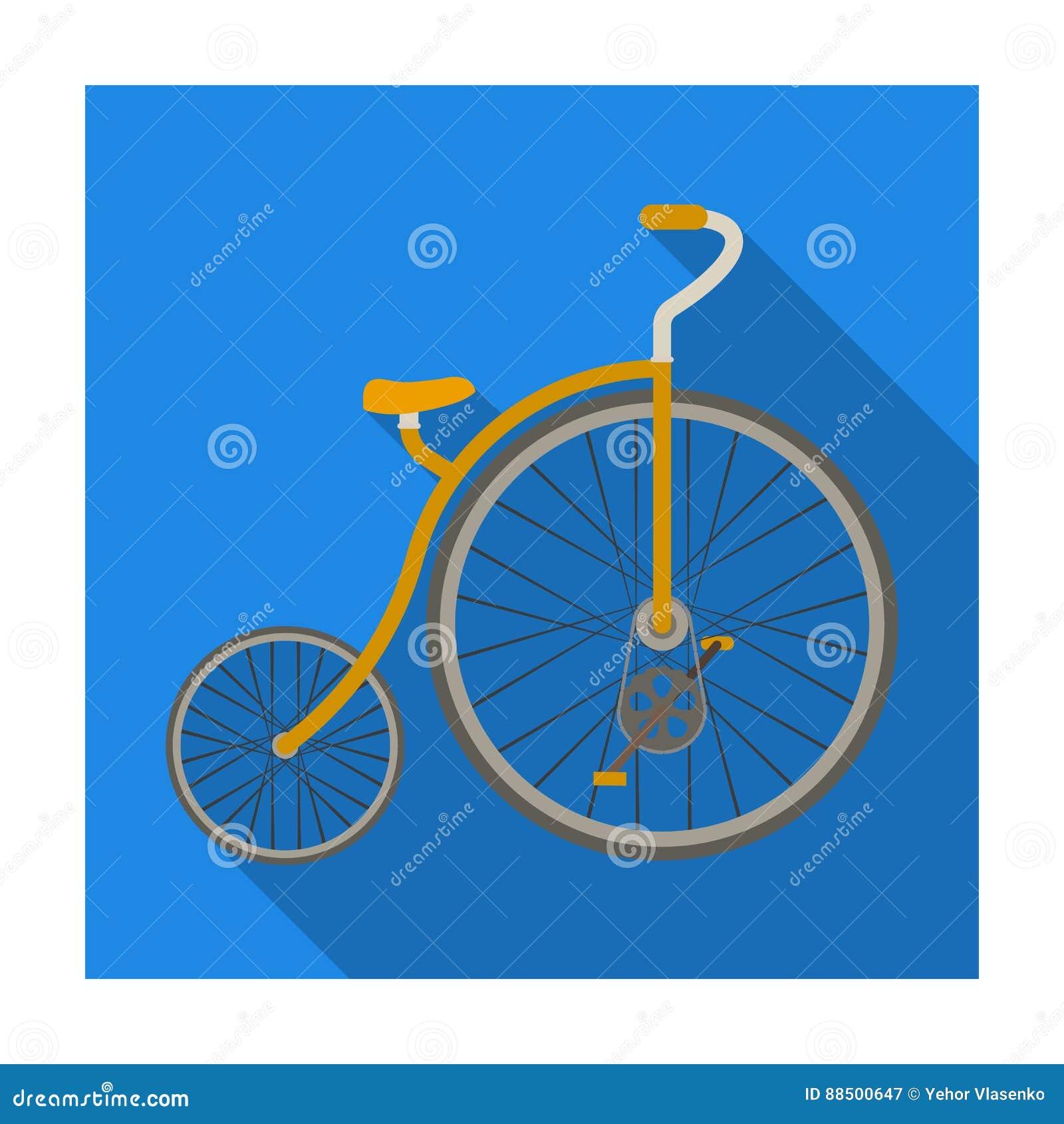 Rocznika bicykl Pierwszy bicykl Ogromny i mały koło Różnego bicyklu pojedyncza ikona w mieszkanie stylu symbolu wektorowym zapasi