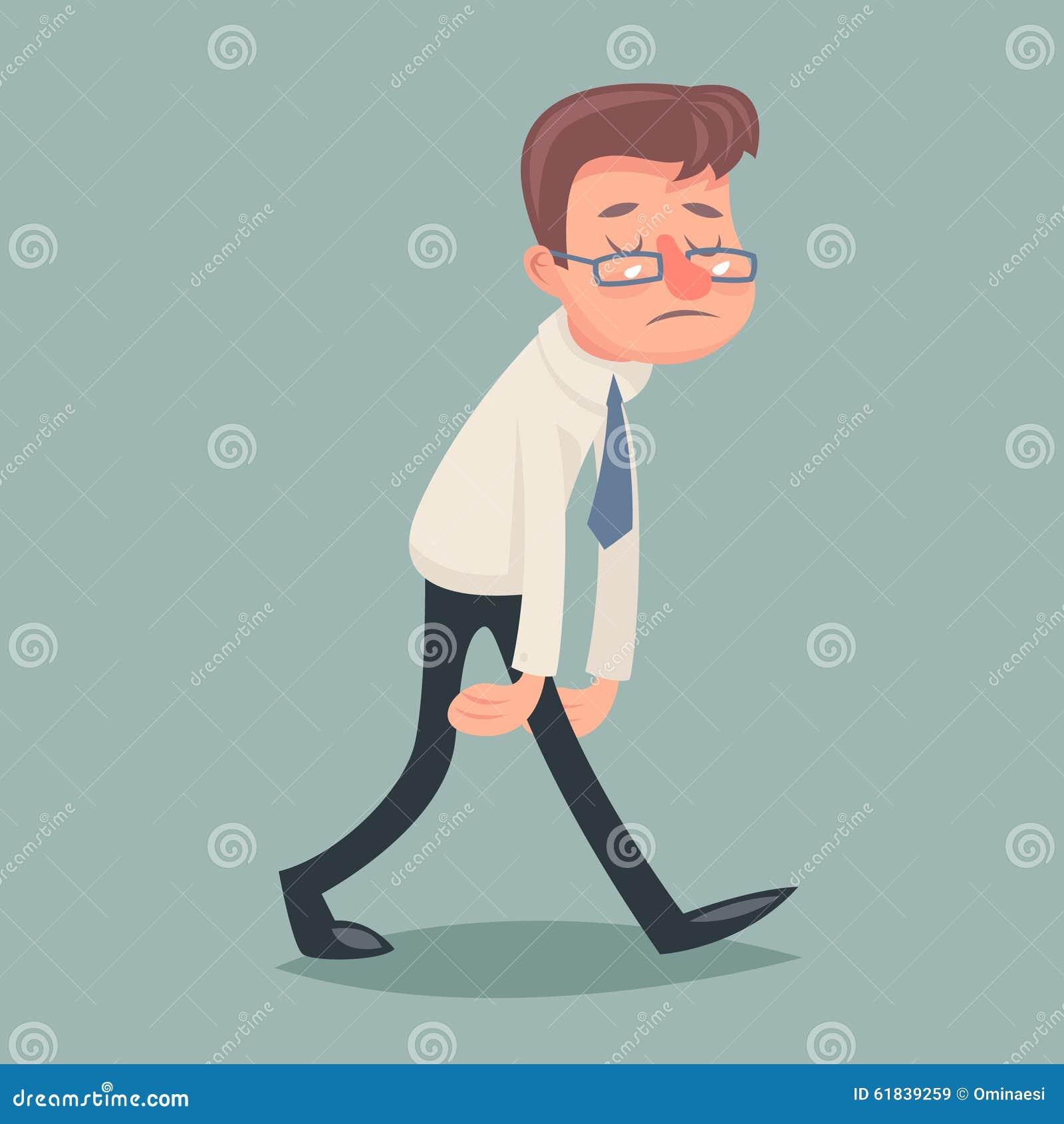Rocznika biznesmena spaceru Smutny Zmęczony Znużony charakter
