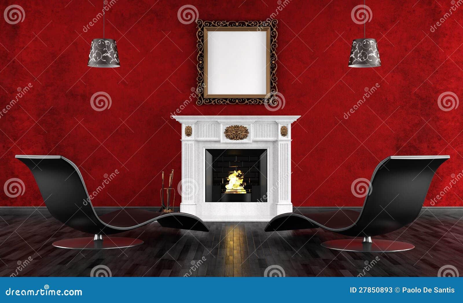 Rocznika czarny i czerwony pokój