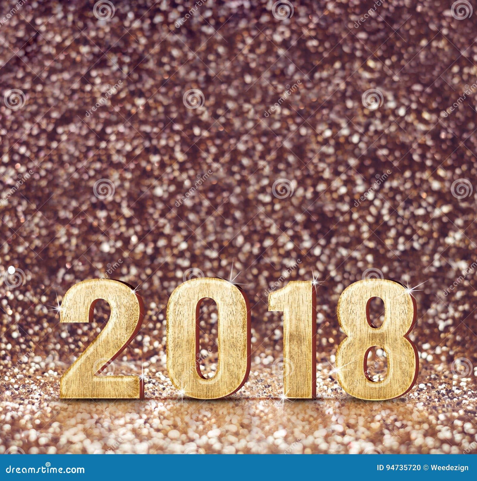 Rocznika filtra brzmienie szczęśliwy nowego roku 2018 3d rendering przy zdrojem