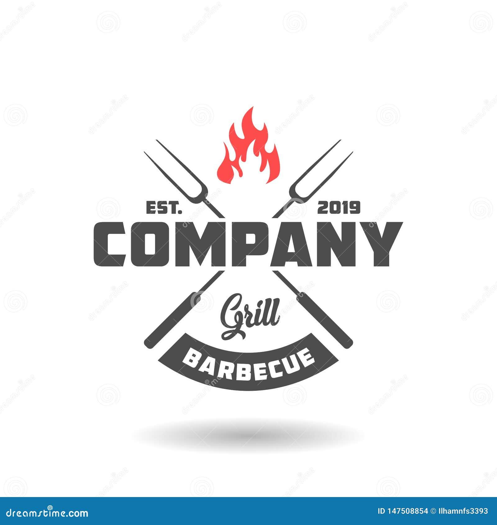 Rocznika grilla logo projekt