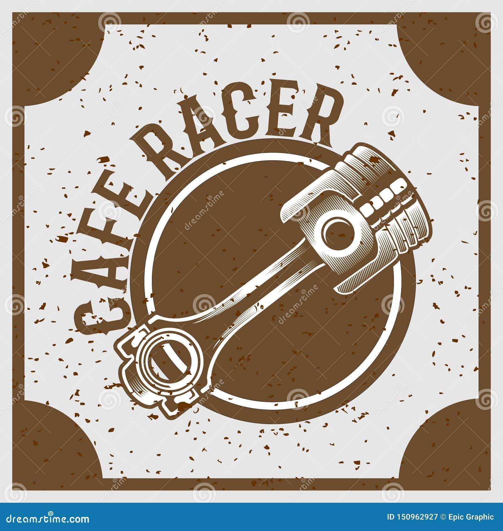 Rocznika grunge stylu tłok z tekst kawiarni setkarzem