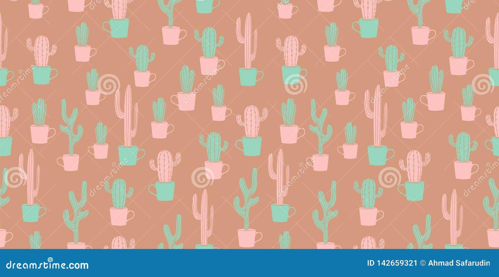 Rocznika kaktusowego projekta bezszwowy wzór z śliczną scandinavian ręką rysującą