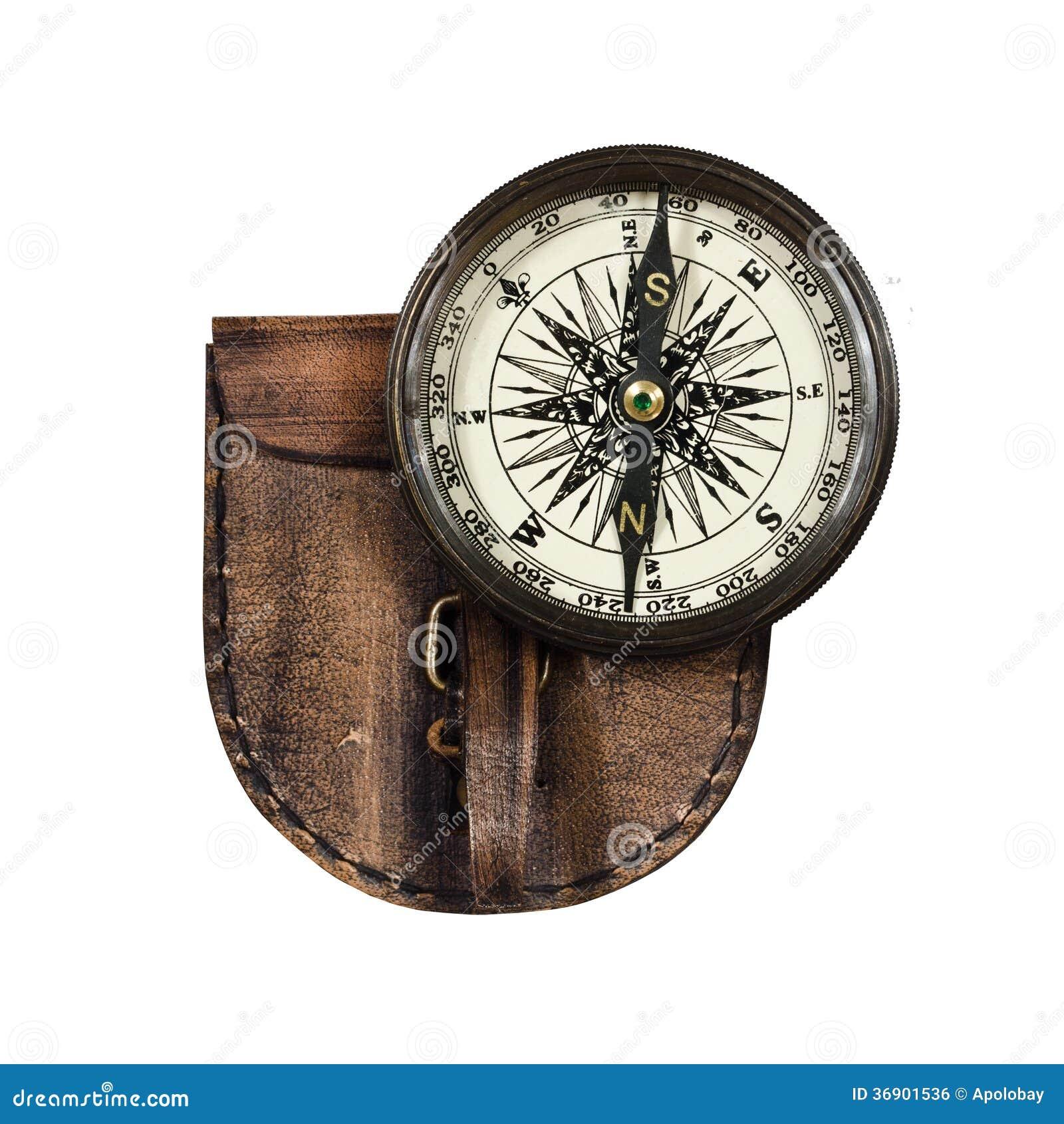 Rocznika kompas z deklem odizolowywającym na białym tle
