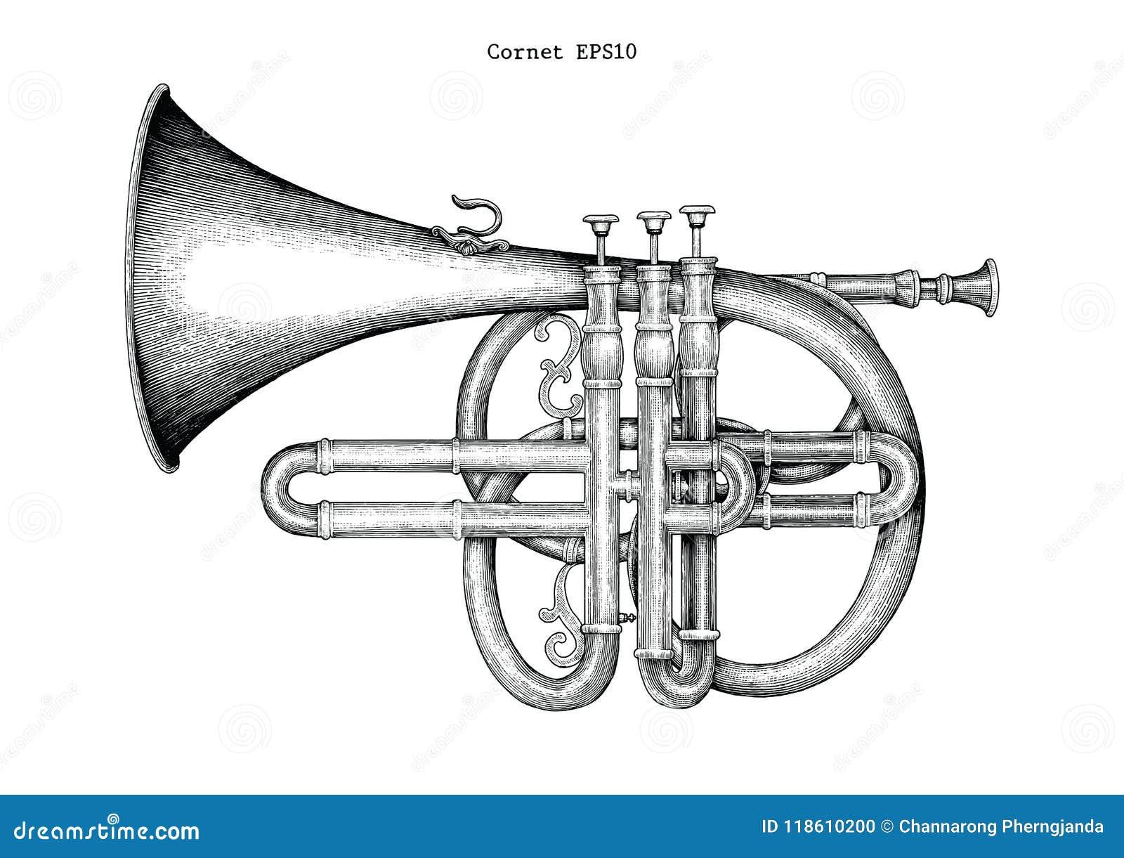 Rocznika kornetu ręki rytownictwa rysunkowa ilustracja klasyczny