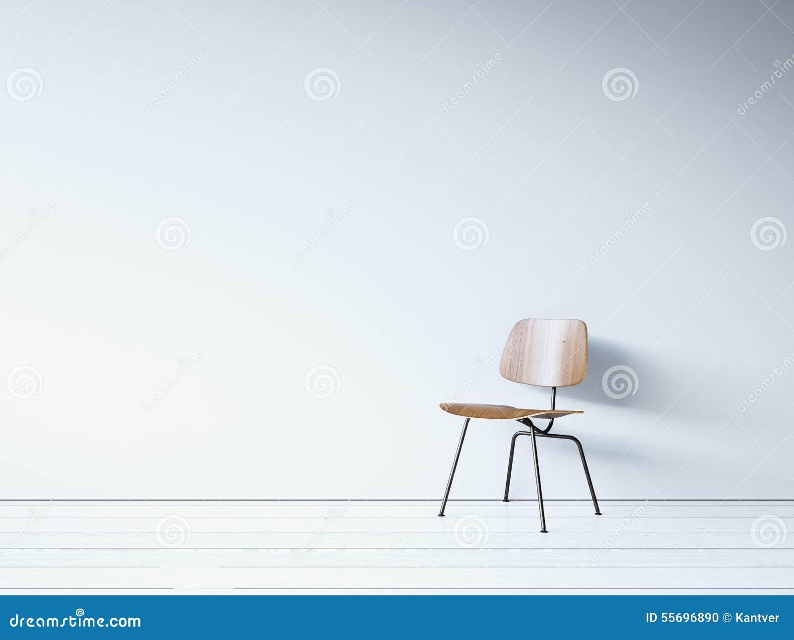 Rocznika krzesło na białej ścianie 3 d czynią