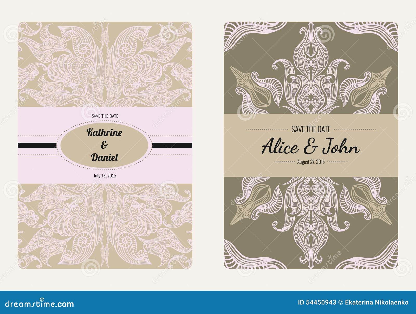 Rocznika kwiecisty save daty lub ślubu zaproszenia karty kolekcja Retro wektorowy romantyczny karciany szablon