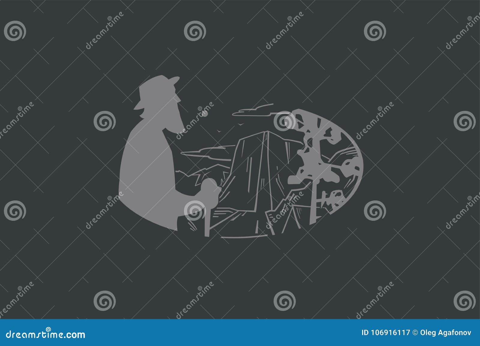 Rocznika loga starsza osoba i góra krajobraz