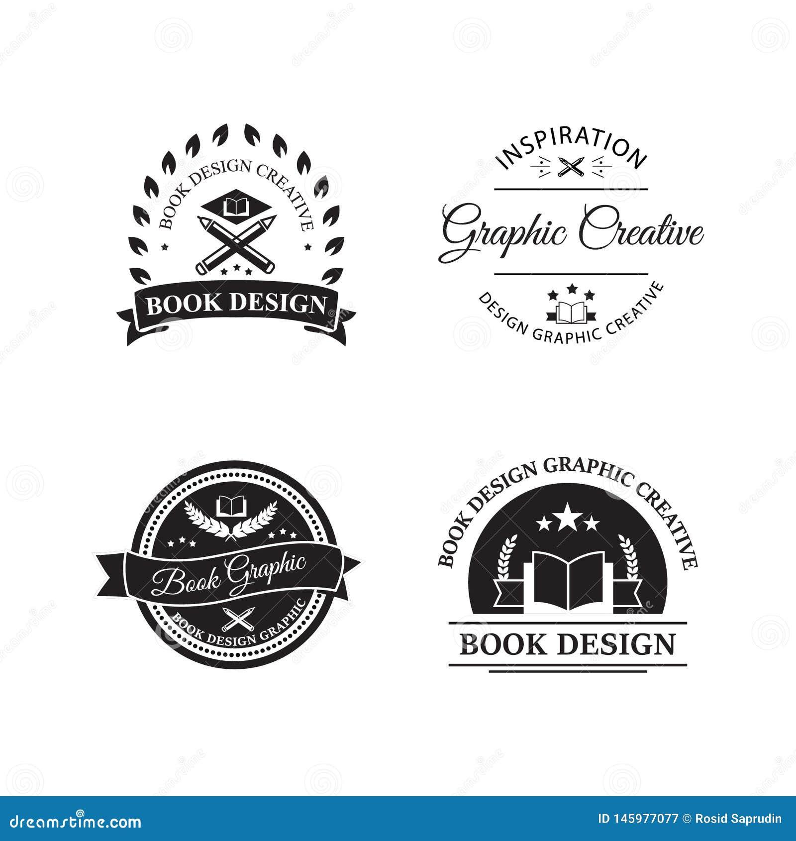 Rocznika logo desiain książkowego sklepu kreatywnie sklepu i retro stylowego logo emblemata szablonu wektorowy ilustracyjny proje