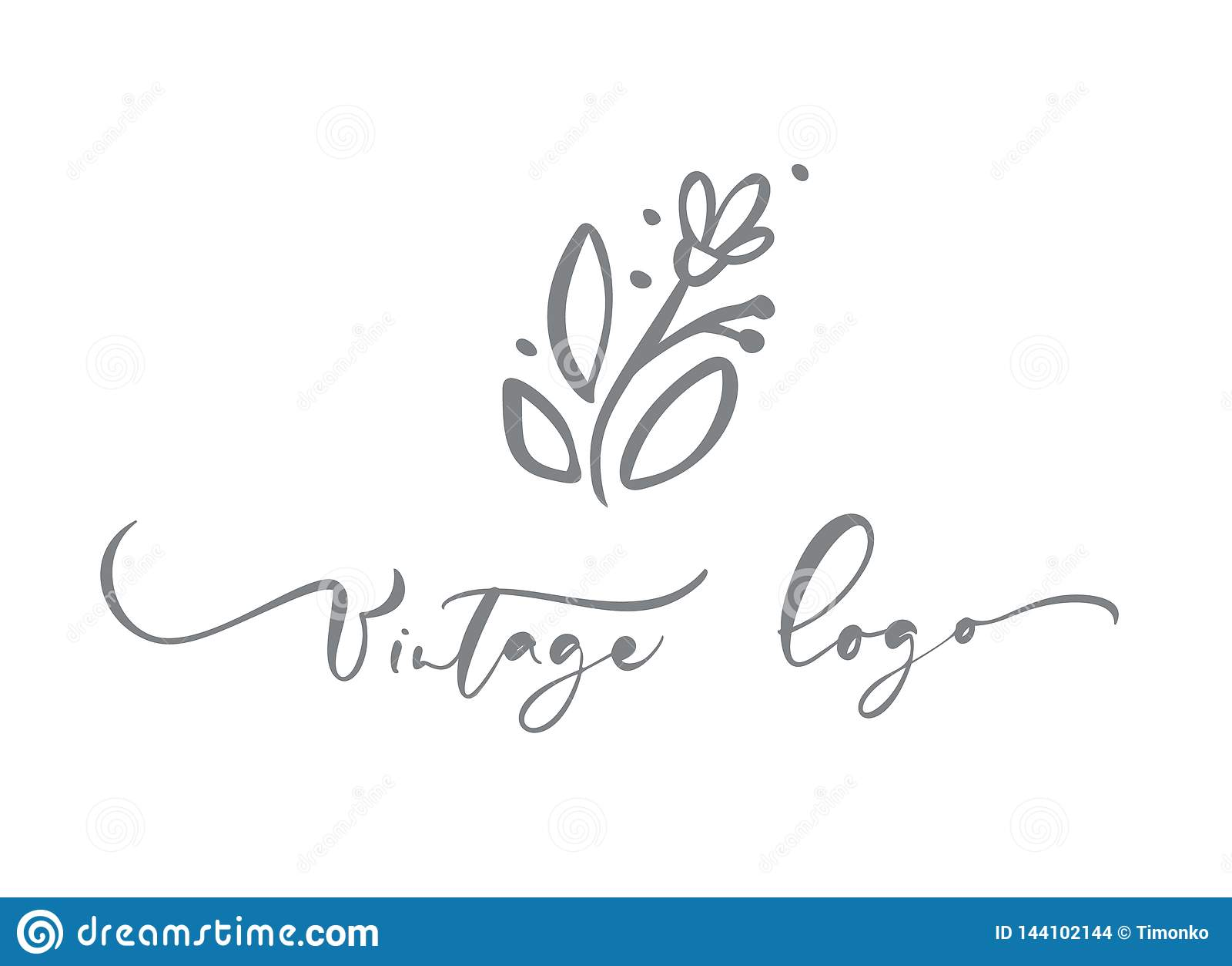 Rocznika logo kaligraficzny tekst Wektorowa modna scandinavian kwiecista ręka rysujący piękno, organicznie kosmetyki, kwiaciarnia