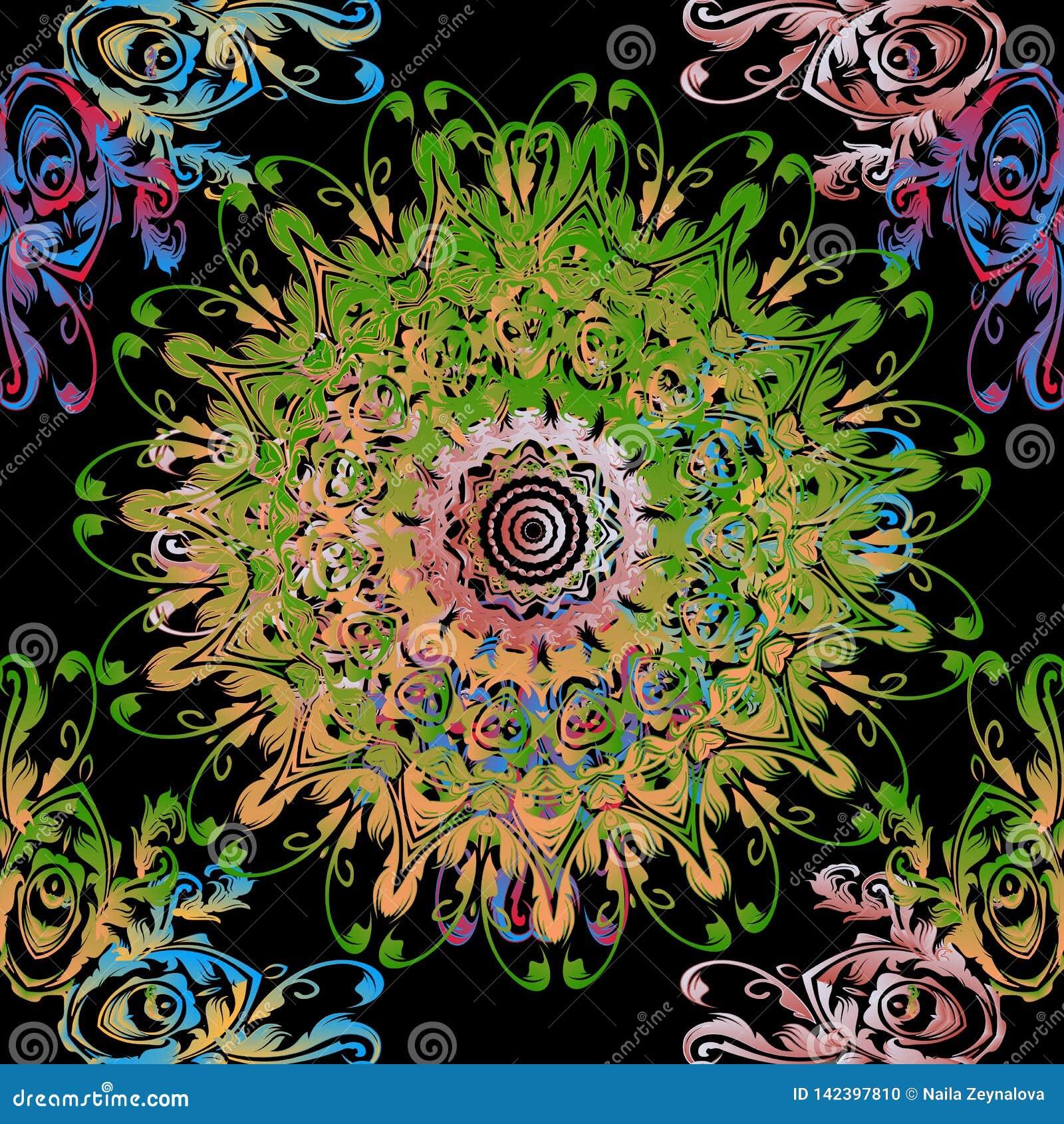 Rocznika mandala kwiecisty Barokowy wektorowy bezszwowy wzór Ornamentacyjny tło z elegancja kolorowymi kwiatami, ślimacznica opus