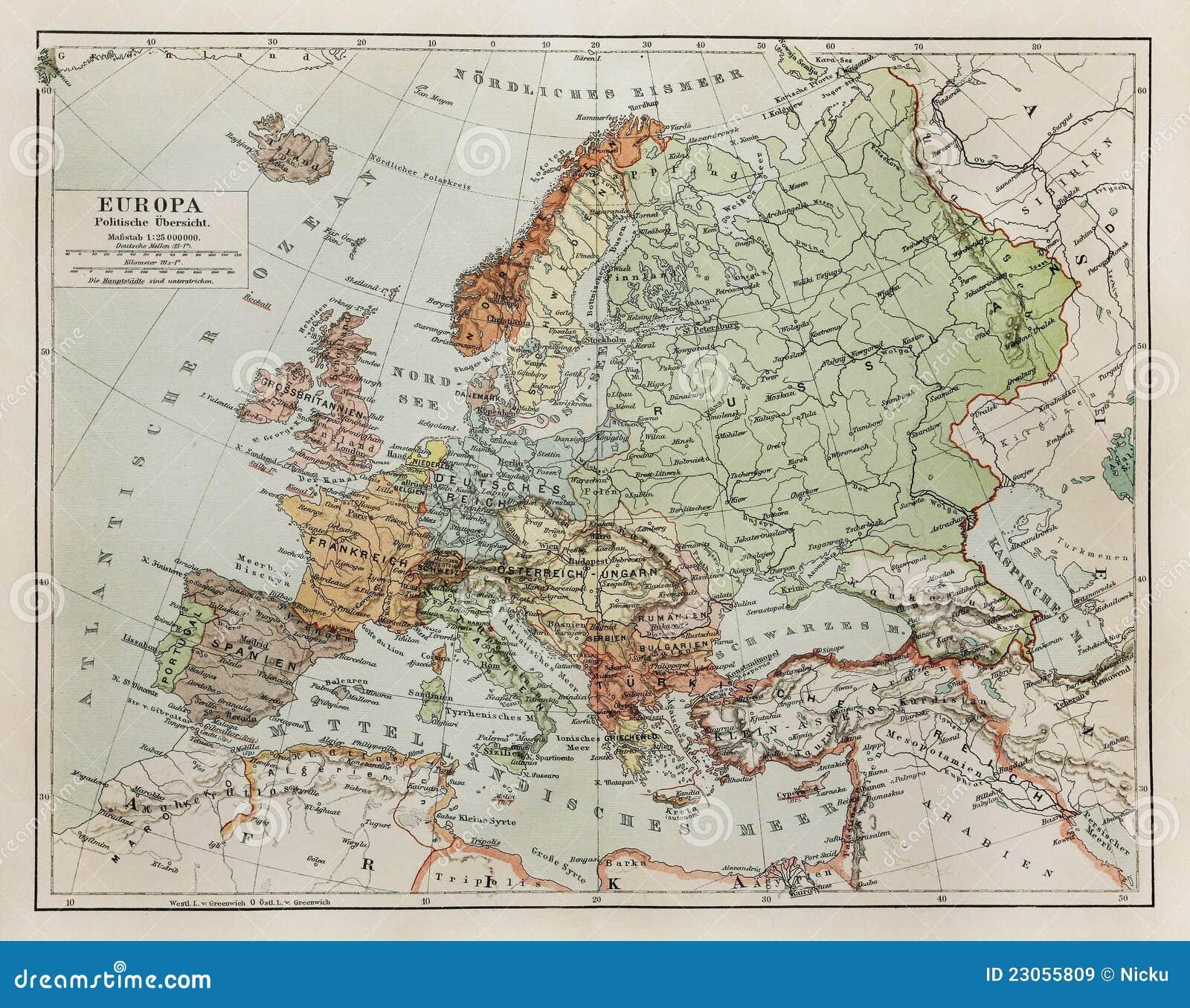 Rocznika Mapa Europa Przy Koncowka Xix Wiek Obraz Stock Obraz