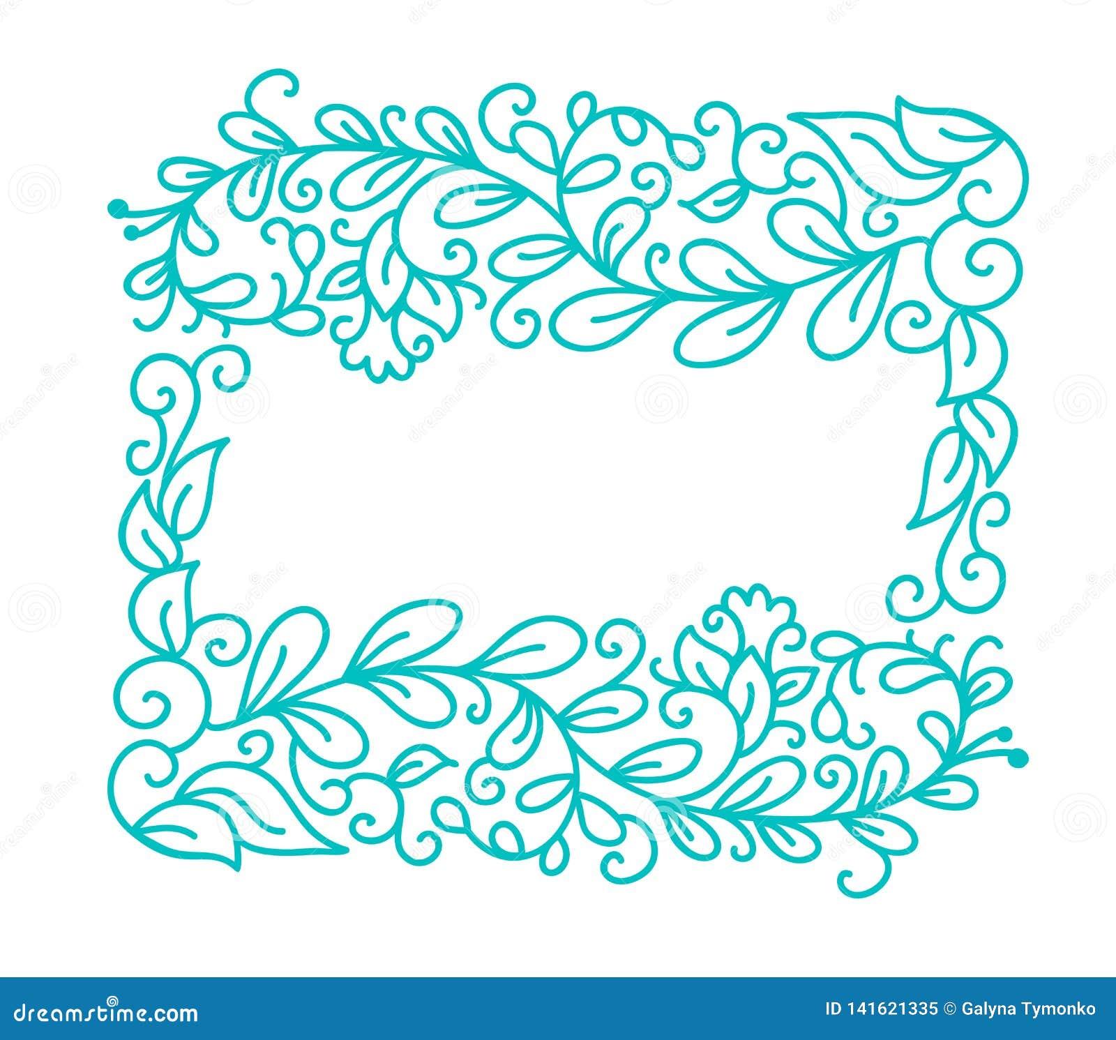 Rocznika monoline kaligrafii zawijasa Turkusowa wektorowa rama dla kartki z pozdrowieniami Ręka rysujący kwieciści monogramów ele