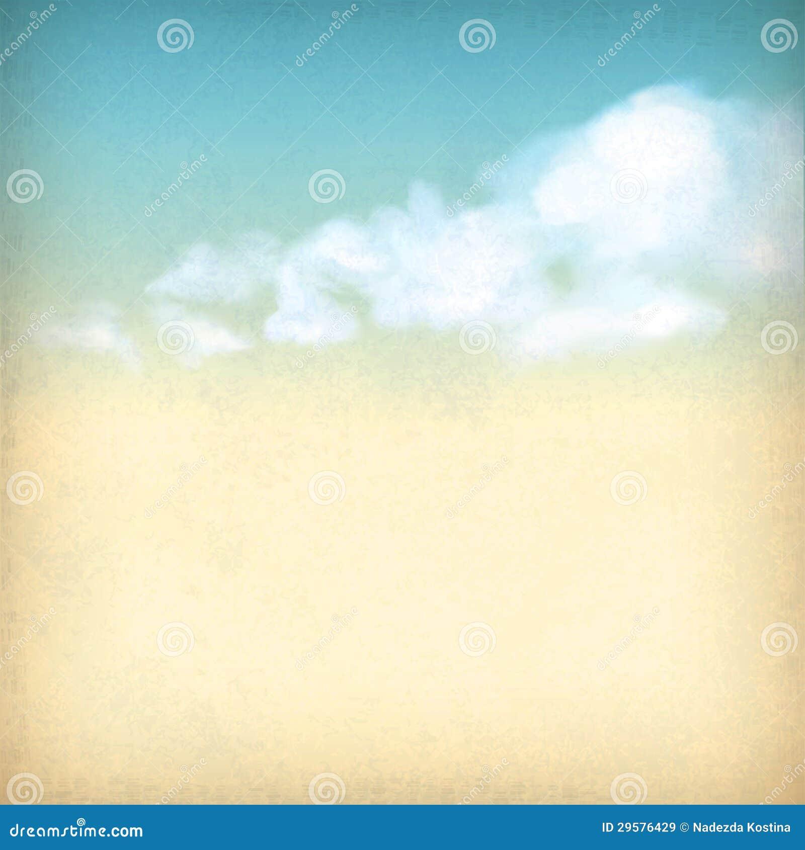 Rocznika niebo chmurnieje stary papier textured tło