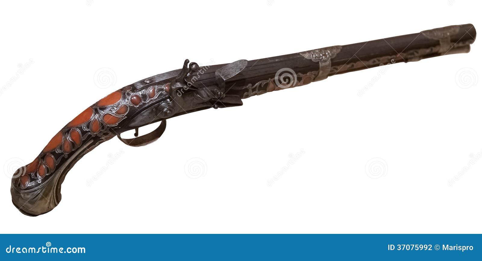 Download Rocznika Pistolet Odizolowywający Zdjęcie Stock - Obraz złożonej z historia, pistolet: 37075992