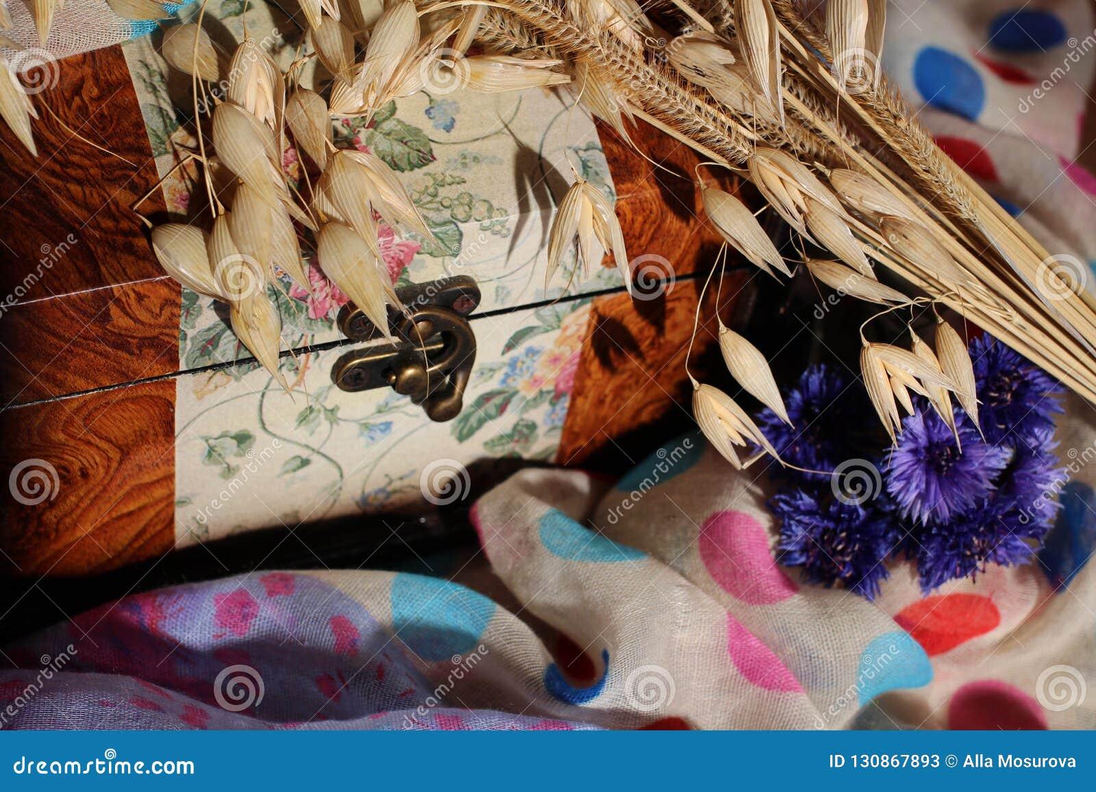 Rocznika rocznika pudełko na barwić tkaninach z kwiatami