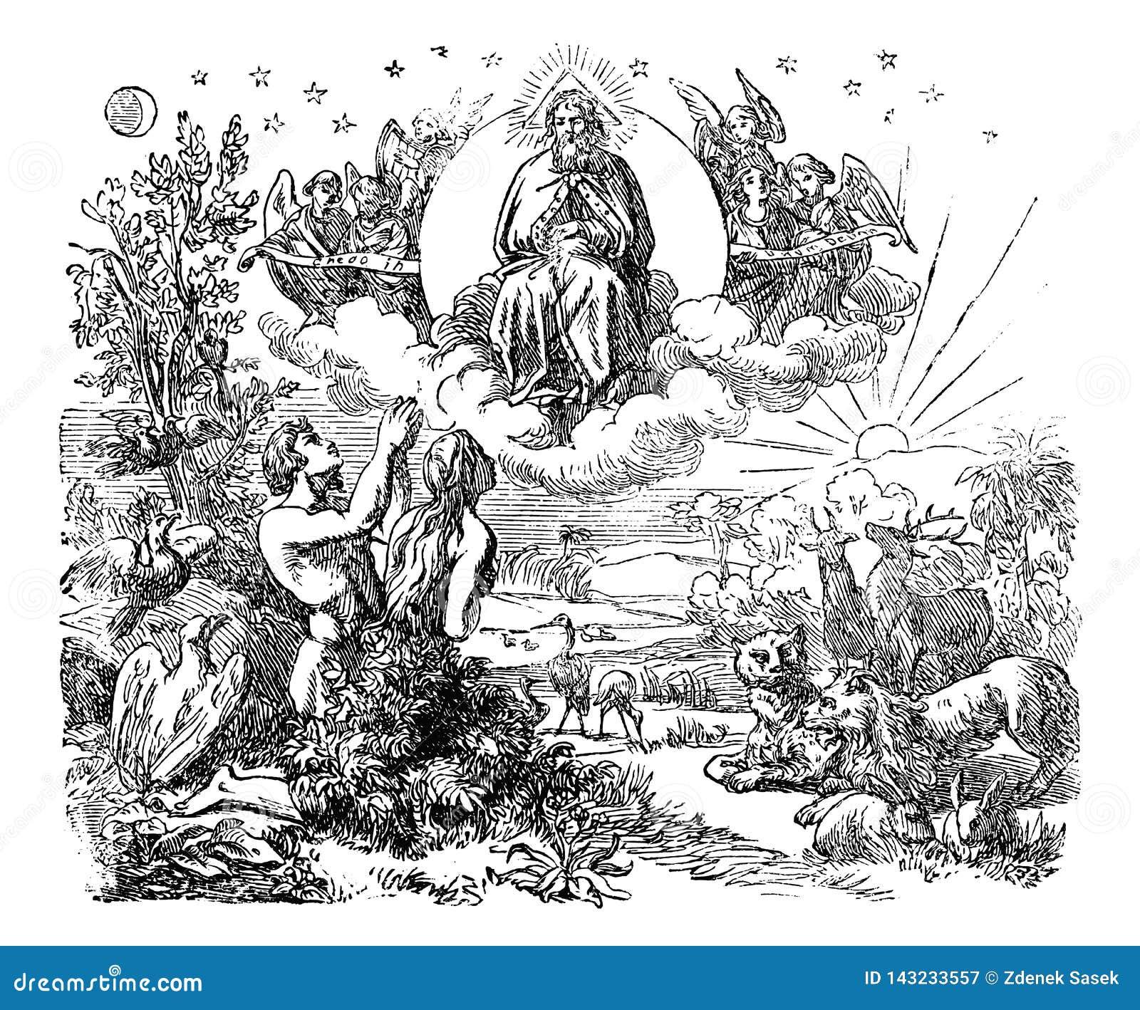 Rocznika rysunek Biblijny świat i ogród rajski Tworzący bogiem