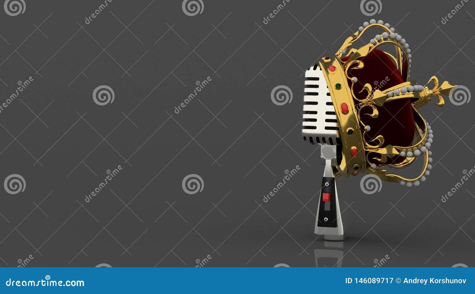 Rocznika srebny retro mikrofon na popielatym tle