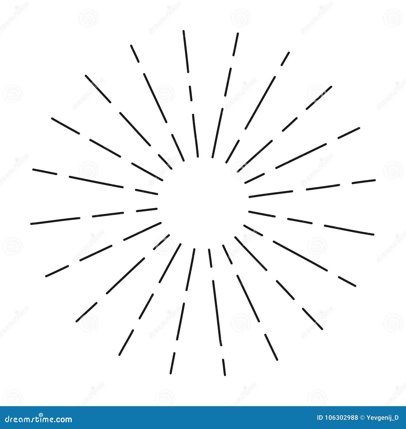 Rocznika sunburst w linia kształcie, liniowego promieniowego wybuchu Retro słońce dla modniś kultury