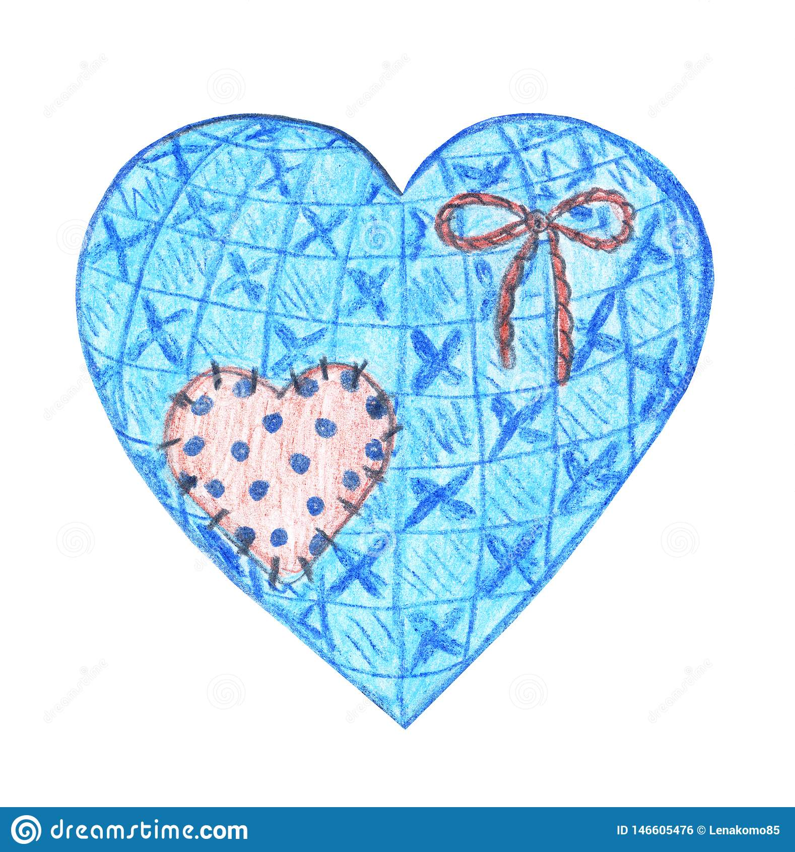 Rocznika tekstylny serce z śliczną łatą i linowym łękiem