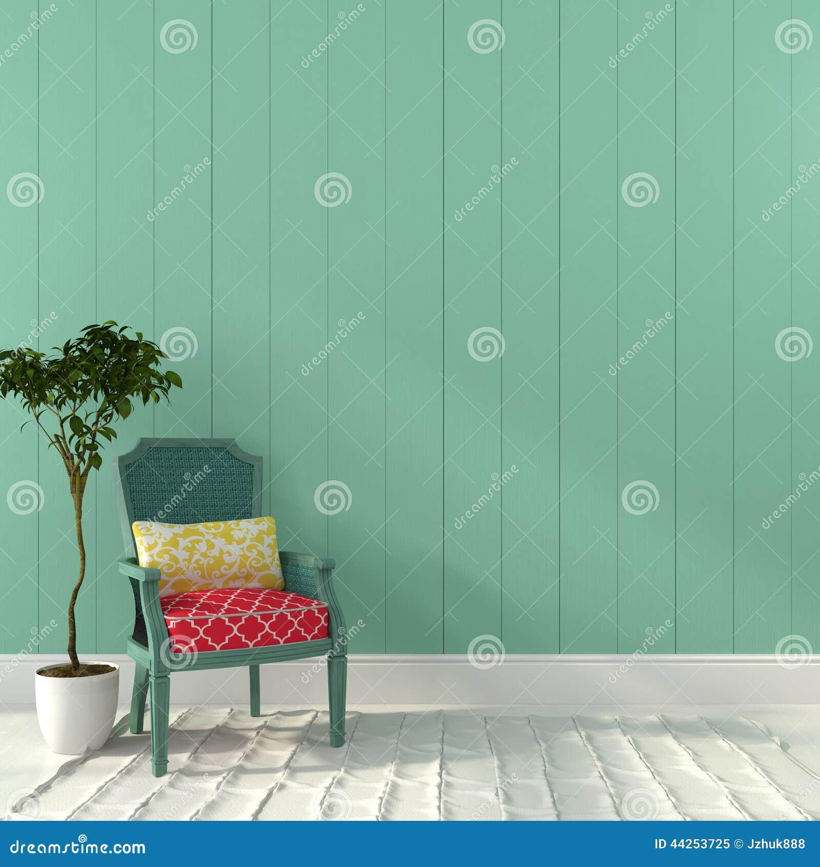 Rocznika turkusowy krzesło z kolorowym wystrojem