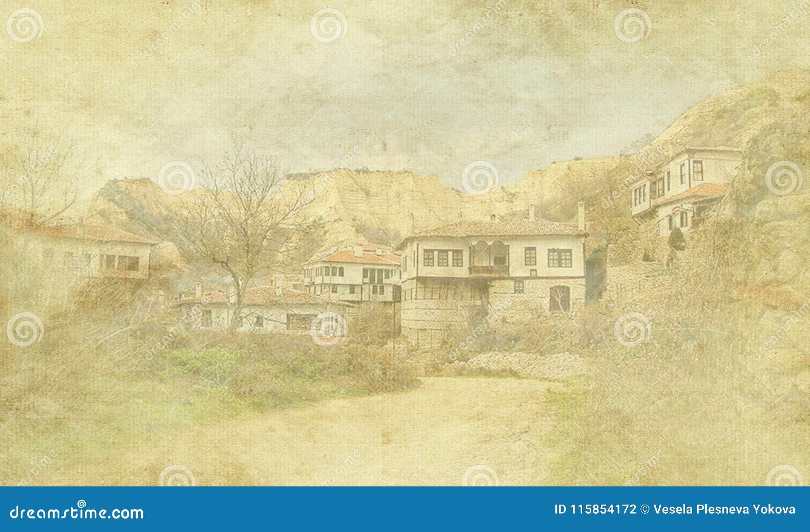 Rocznika wakacje karta na starym papierowym tle Uliczny widok Melnik tradycyjna architektura, Bułgaria Mieszkaniowy, Europa